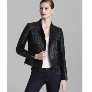 Micheal Kors genuine leather quilted Moto jacket